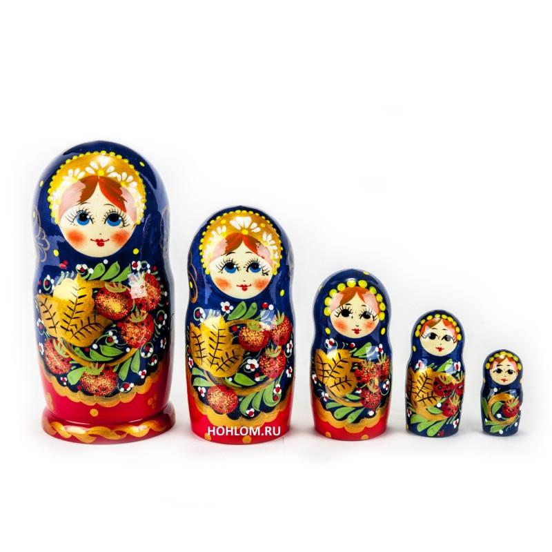 Русская матрешка Хохлома 5 кукол