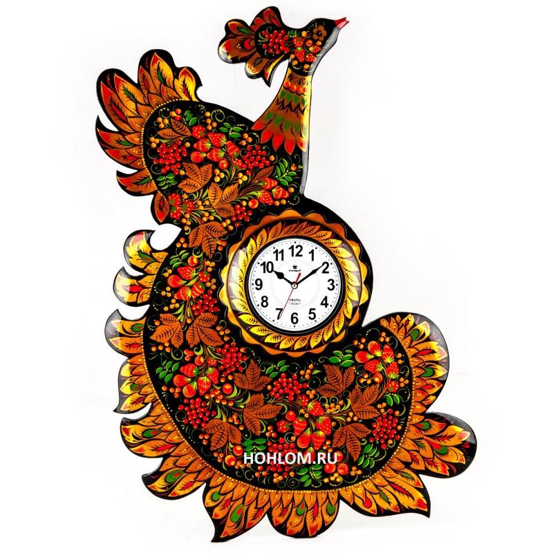 Часы хохлома Жар-птица