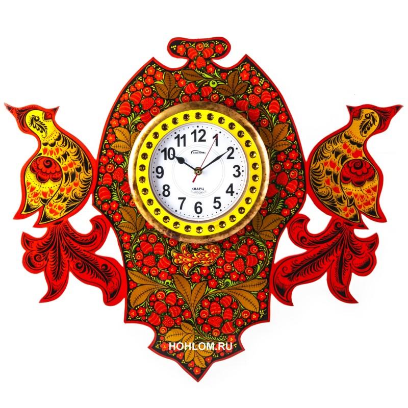 Часы настенные с птичками хохлома