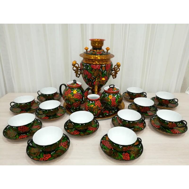 Самовар с чайным сервизом хохлома Рябинка