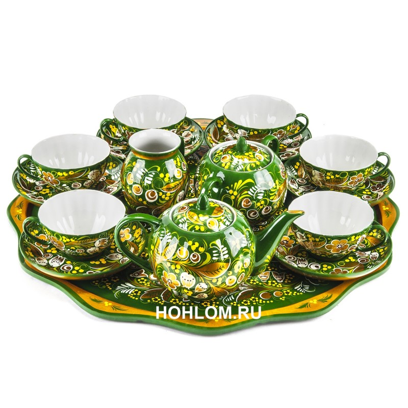 Сервиз чайный с подносом хохлома ландыши