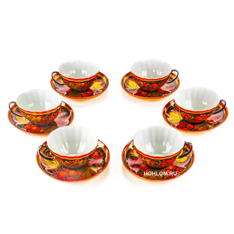 Чайная пара на 6 персон хохлома клубника