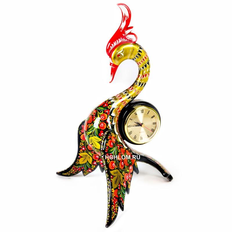 """Эксклюзивные часы """"Лебедь"""" хохлома"""