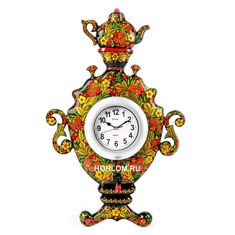 Часы настенные Самовар хохлома