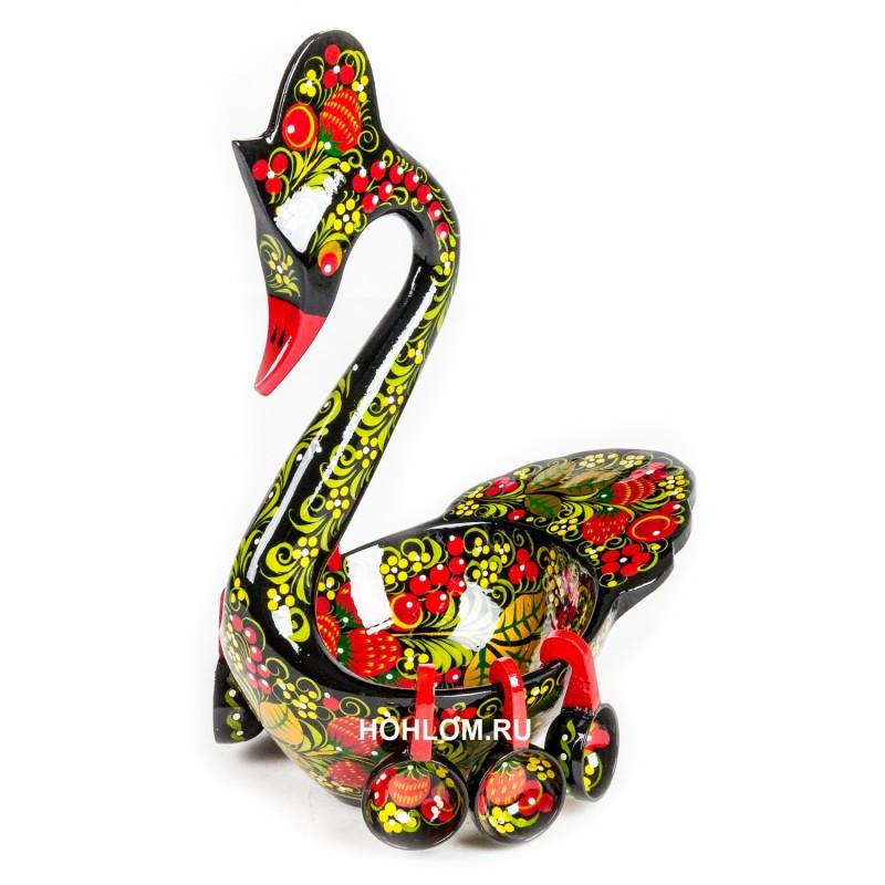 Лебедь с ковшами с художественной росписью хохлома