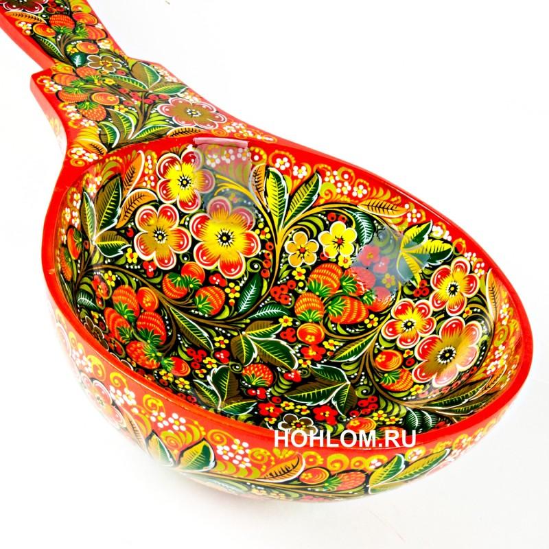 Ложка гигант 1 метр с художественной росписью хохлома (красный фон)