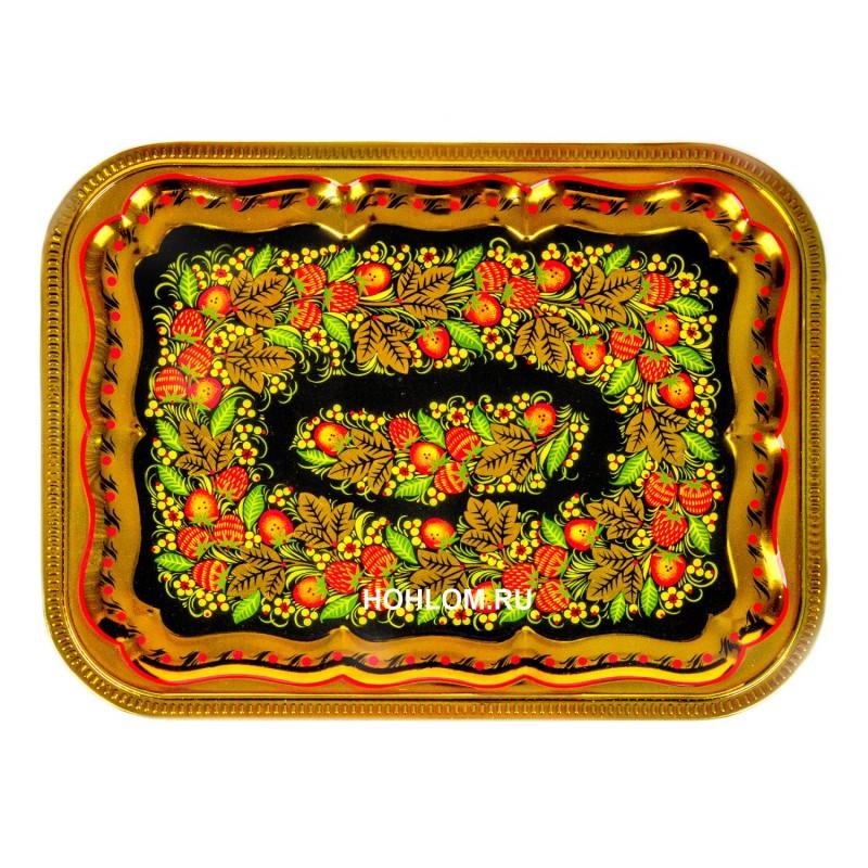 Самовар в наборе с чайником и подносом с художественной росписью хохлома (клубника)