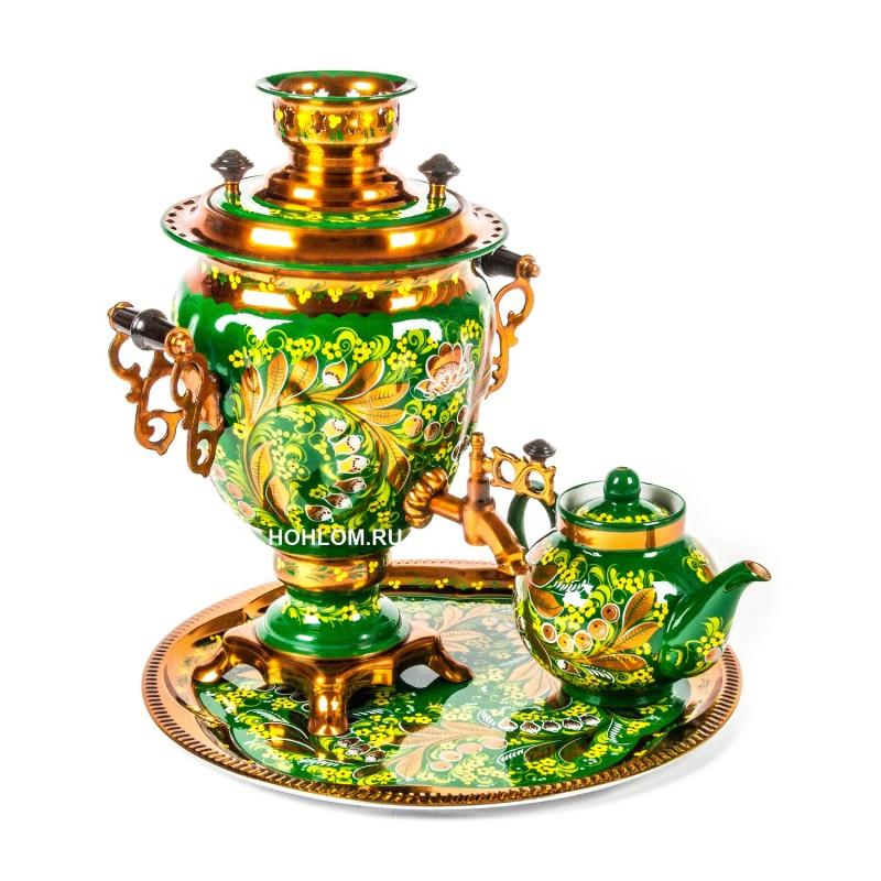 Самовар в наборе с чайником и подносом с художественной росписью хохлома (ландыши)